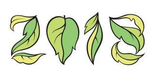 Wektor liczba 2018 Eco styl z zielonymi liśćmi Kalendarzowy projekt Zdjęcie Royalty Free