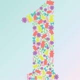 Wektor liczba jeden zrobił zabawki i kwiaty Zdjęcia Stock
