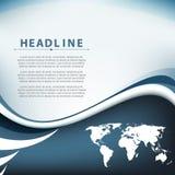 Wektor linii światowej mapy fala zginający elementy obramiają korporacyjnego biznesu tło Obrazy Royalty Free