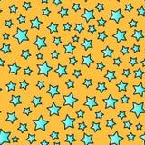 Wektor linii gwiazdy bezszwowy wzór Odizolowywający na żółtym tle Fotografia Royalty Free