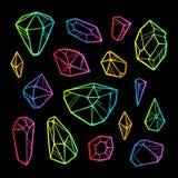 Wektor linii koloru neonowi kryształy na czarnym tle ilustracja wektor