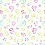 Wektor linii koloru neonowych kryształów bezszwowy wzór odizolowywający na białym tle ilustracja wektor