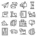 Wektor linii poczta usługa ikony ustawiać na białym tle Ilustracji