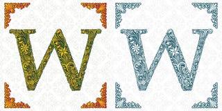 Wektor listowy W Wzorzysta chrzcielnica monogram Unikalny ornamentacyjny abecadło Wiosna liścia wzór _ ilustracja wektor