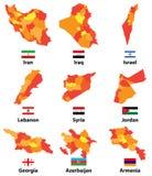 Wektor mapy i flaga azjata i bliskich wschodów kraje z administracyjnych podziałów regionów granicami ilustracji