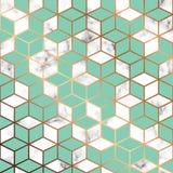 Wektor marmurowa tekstura, bezszwowy deseniowy projekt z złotymi geometrycznymi liniami i sześciany, czarny i biały marmoryzaci p Zdjęcie Royalty Free