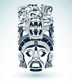 Wektor maska, meksykański Majski symbol - aztec motywy - ilustracja wektor
