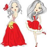 Wektor mody ustalone piękne dziewczyny w czerwonych sukniach Obrazy Royalty Free