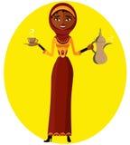 Wektor - muzułmańska dziewczyna z filiżanką i języka arabskiego kawowym garnkiem kobieta jednostek gospodarczych piękny model Obrazy Stock