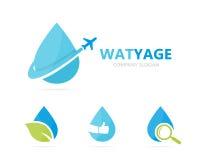 Wektor nafciana i samolotowa logo kombinacja Opadowa i podróż ikona lub symbol Unikalny lota aqua i wody logotyp Obrazy Stock