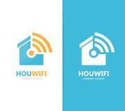 Wektor nieruchomości i wifi loga kombinacja Domowy i sygnałowy symbol lub ikona Unikalny czynsz i radio, internet Obrazy Stock