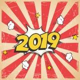 Wektor 2019 nowy rok retro projekt 2019 nowy rok komiksu stylu pocztówka lub kartka z pozdrowieniami element Zdjęcie Royalty Free