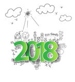 Wektor 2018 nowy rok z kreatywnie rysunkowym ekologii pojęciem Zdjęcia Royalty Free