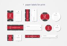 Wektor odzieży papierowe etykietki dla druku z deseniową białą koroną na ciemnym polu Obrazy Royalty Free