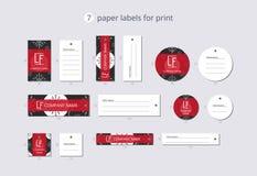 Wektor odzieży papierowe etykietki dla druku z deseniową Bożenarodzeniową piłką i popielatym płatkiem śniegu Obraz Royalty Free