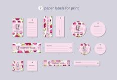 Wektor odzieży papierowe etykietki dla druku z deseniowym mangostanem i kwiatem Fotografia Royalty Free