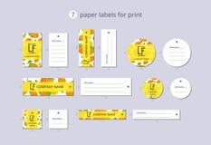 Wektor odzieży papierowe etykietki dla druku z deseniowym persimmon i kwiatem Zdjęcia Royalty Free