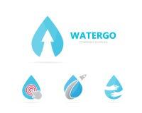 Wektor olej i strzała w górę logo kombinaci Opadowy i wzrostowy symbol lub ikona Unikalny wody i aqua logotypu projekt Obraz Royalty Free