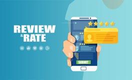 Wektor online zastosowanie oszacowywać obsługi klientej i przeglądać na telefonie komórkowym ilustracja wektor