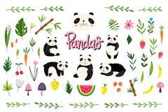Wektor paczka z pandami, owoc i roślinami, Pociągany ręcznie styl Skandynawscy motywy Set 45 elementów royalty ilustracja