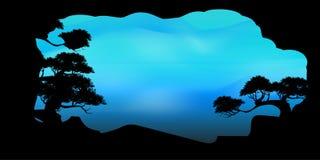 Wektor piękna drzewo chmura i nieba tło Obrazy Stock