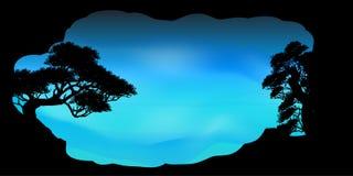 Wektor piękna drzewo chmura i nieba tło Obraz Royalty Free