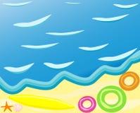 Wektor plaża z fala Zdjęcia Royalty Free