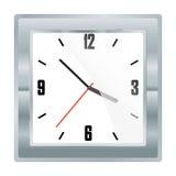 Wektor platyny kwadratowy machinalny zegarek z białą tarczą czarnymi cyframi i Zdjęcie Royalty Free