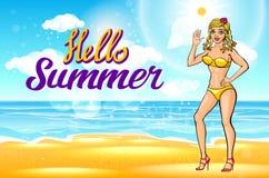 wektor Plenerowej lato bikini pogodnej mody uśmiechnięty portret ładna młoda blondynki dziewczyna plaża na zwrotnik wyspy wakacje Zdjęcia Stock