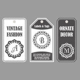 Wektor ram projekt Rocznik ustawiający ornamentacyjne etykietki Wschodni wystrój z monogramami Szablon etykietki dla kart ilustracja wektor
