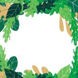 Wektor rama z zielenią opuszcza na przejrzystym tle fotografia royalty free