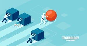 Wektor robot pcha sferę prowadzi rasy przeciw grupie wolni biznesmeni pcha pudełka ilustracji