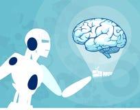 Wektor robota mienie, patrzeć ludzkiego mózg i ilustracja wektor
