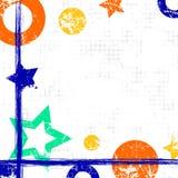 Wektor rysujący geometryczny tło z geometrical postaciami, rama, granica Grunge szablon z gwiazdami, okręgi, kropkuje Starego sty Zdjęcie Royalty Free