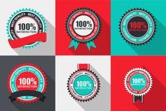 Wektor satysfakci ilości 100% etykietka Ustawiająca w Płaskim Nowożytnym projekcie Obraz Stock