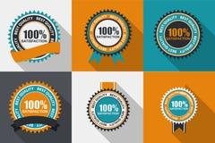 Wektor satysfakci ilości 100% etykietka Ustawiająca w Płaskim Nowożytnym projekcie Zdjęcia Stock