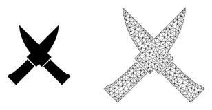 Wektor siatki noży 2D skrzyżowanie i Płaska ikona royalty ilustracja