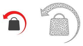 Wektor siatki zwrota 2D zakupy, mieszkanie ikona i ilustracji