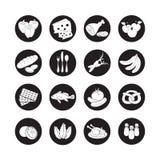 Wektor sieci ustalone płaskie ikony z jedzeniem Patroszonej kreskówki czarny i biały żywność tęsk cień w round ramie dla internet Obraz Royalty Free