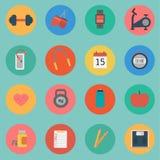 Wektor sprawności fizycznej ikony ustalony płaski projekt Zdjęcie Stock
