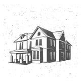 Wektor sylwetki domowa ilustracja, czarny i biały royalty ilustracja