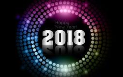 Wektor - Szczęśliwy nowy rok 2018 - złocista dyskotek świateł rama Zdjęcie Royalty Free