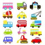 Wektor transportu temat z samochodem, pojazd, ciężarówka, taxi, turystyczny autobus, pociąg Set śliczny i kolorowy ikony kolekci  Obrazy Stock