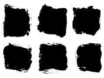 Wektor ustalona artystyczna czarna farba, atrament lub akrylowa ręka szalenie, Zdjęcie Stock
