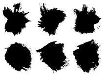 Wektor ustalona artystyczna czarna farba, atrament lub akrylowy ręcznie robiony, Obraz Royalty Free