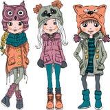 Wektor ustalone śliczne dziewczyny w śmiesznych kapeluszach Obrazy Stock