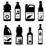 Wektor ustalone czarne ikony olej dla smażyć Obrazy Stock