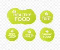 Wektor ustalone kolorowe etykietki dla jedzenia, od?ywianie Inkasowe ikony Zdrowy jedzenie, gluten uwalnia, 100 weganin ilustracji