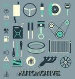 Wektor Ustawiający: Automobilowe części ikony, symbole i ilustracji