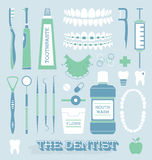 Wektor Ustawiający: Dentysty i zębu opieki ikony Zdjęcie Stock